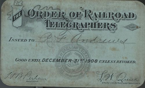 Order of Railroad Telegraphers pass - Page