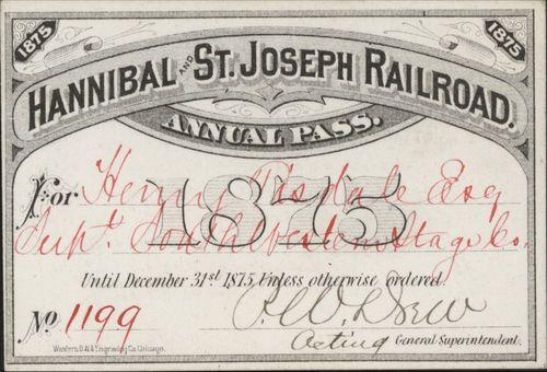 Hannibal & St. Joseph Railroad passes - Page