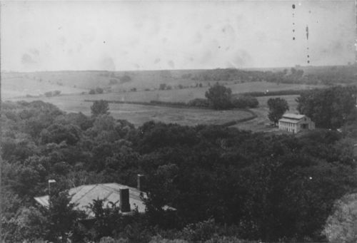 View of the Pottawatomie Baptist Mission in Shawnee county, between 1880 and 1900