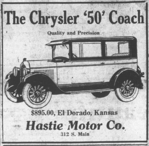 Image of an El Dorado (Kan.) Times advertisement for a Chrysler '50' sedan, Dec. 4, 1926