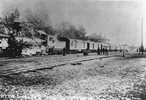 Atchison, Topkea & Santa Fe Railway Company's overland train, Needles, California - Page