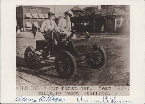 "Photo of Alonzo & Annie Thomas sitting in ""Old Bill,"" a Stafford automobile built by Terry Stafford"