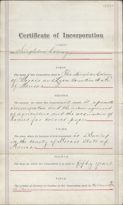 Certificate of Incorporation for the Singleton colony - Page