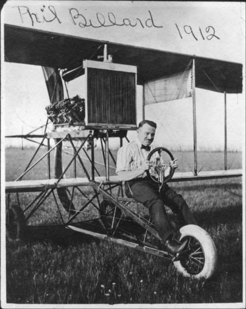 Photo of Philip Billard sitting in an Longren airplane, 1912