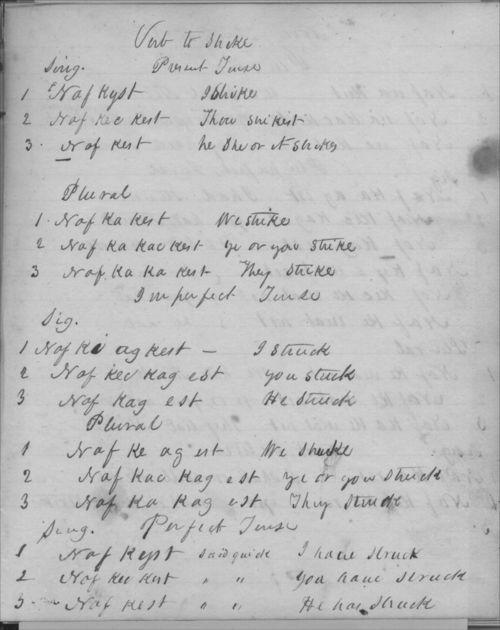 Johnston Lykins' Shawnee verb conjugations - Page