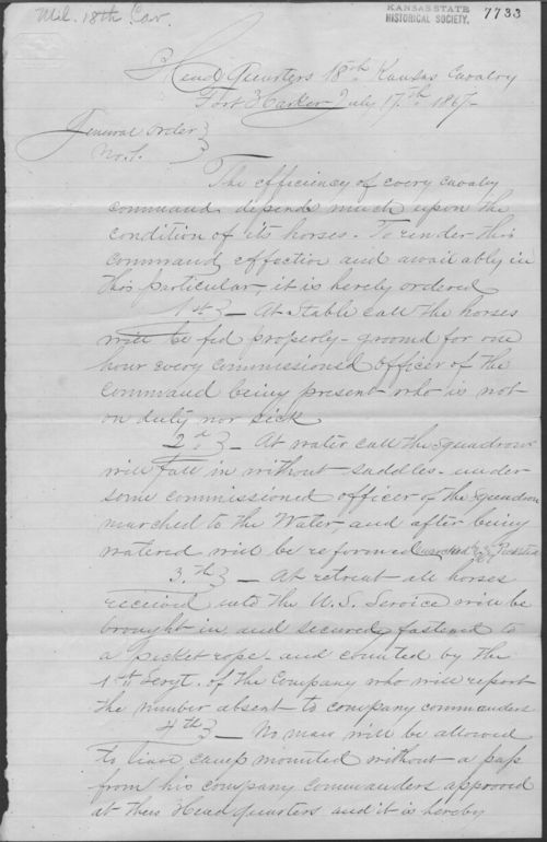 General Order No. 1, 18th Kansas Cavalry - Page