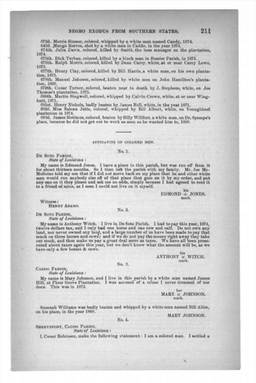 Affidavits of colored men, in report and testimony of the select committee to investigate the causes of the removal of the Negroes from the southern states to the northern states, in three parts - Page