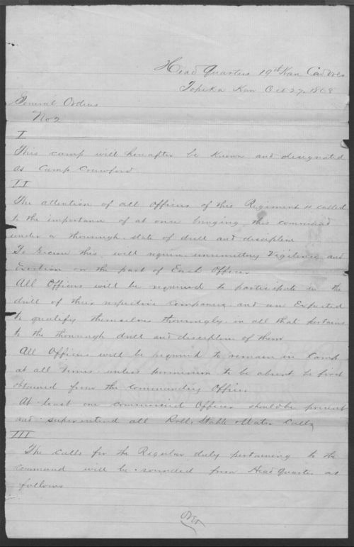 General Order No. 2, 19th Kansas Cavalry - Page