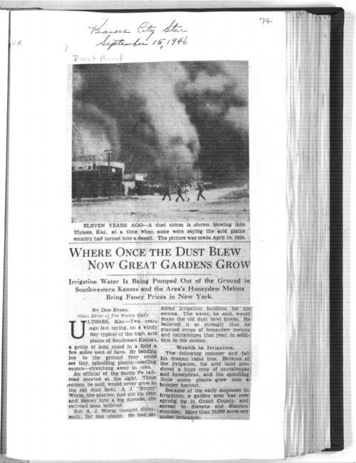 """""""Where Once the Dust Blew Now Great Gardens Grow,"""" Kansas City Star - Page"""