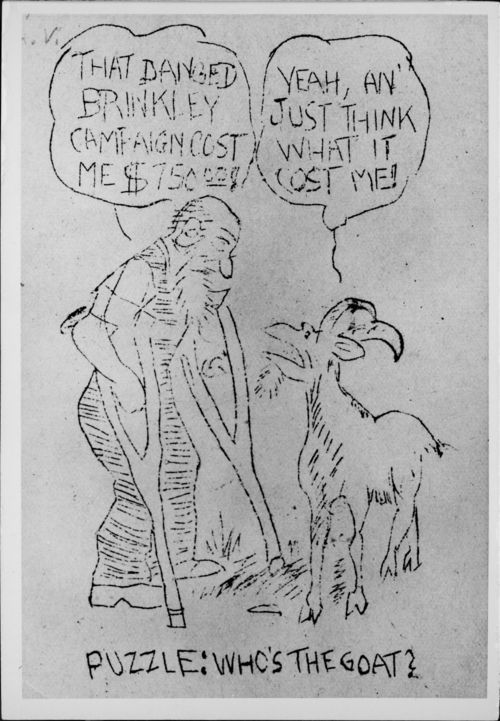 Political cartoon concerning Dr. John R. Brinkley - Page