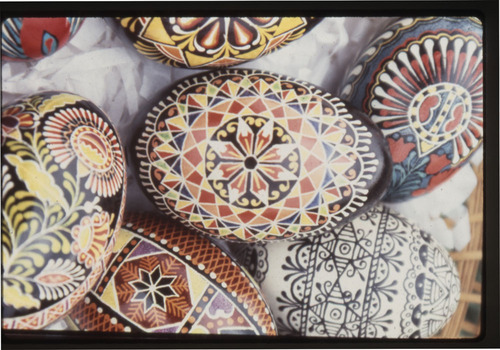 View of several Czech eggs decorated by artist Kepka Belton of Ellsworth