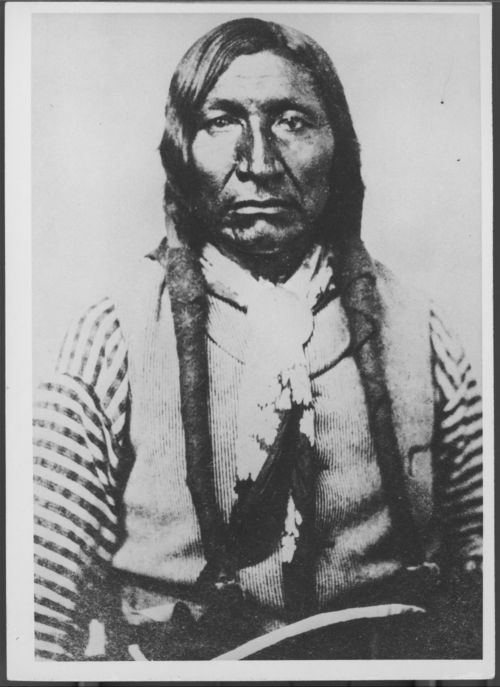 Chief Yellow Bear of the Arapaho photographed between 1870 and 1875. Yellow Bear attended the signing of the Medicine Lodge Treaty in 1867.