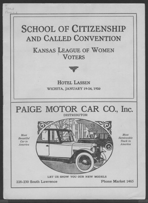 School of citizenship and called convention of the Kansas League of Women Voters - Page
