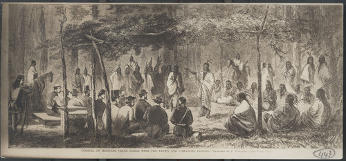 A drawing of the council at Medicine Lodge by J. Howland, originally printed in Harper?s Weekly November 16, 1867.