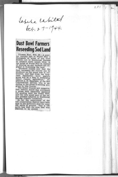 Dust Bowl farmers reseeding sod land - Page
