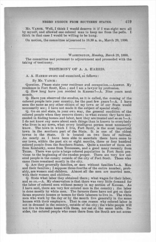 Testimony of A. A. Harris, in report and testimony of the select committee to investigate the causes of the removal of the Negroes from the southern states to the northern states, in three parts - Page