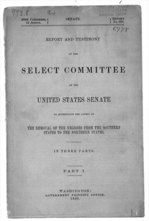 Report of the majority, in report and testimony of the select committee to investigate the causes of the removal of the Negroes from the southern states to the northern states, in three parts