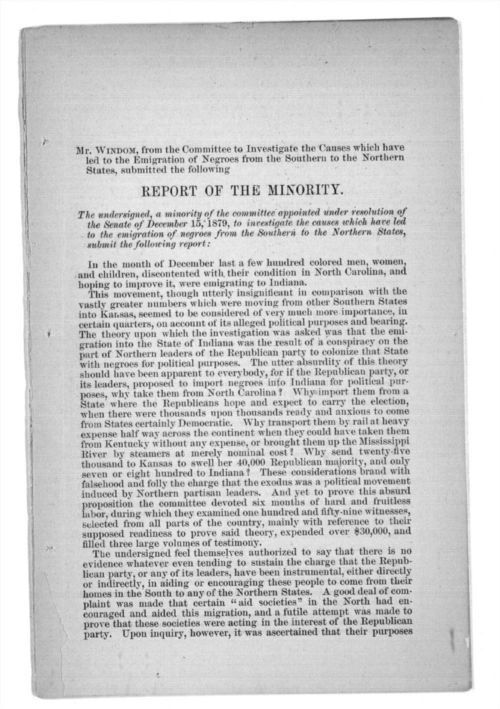 Report of the minority, in report and testimony of the select committee to Investigate the causes of the removal of the Negroes from the southern states to the northern states, in three parts - Page