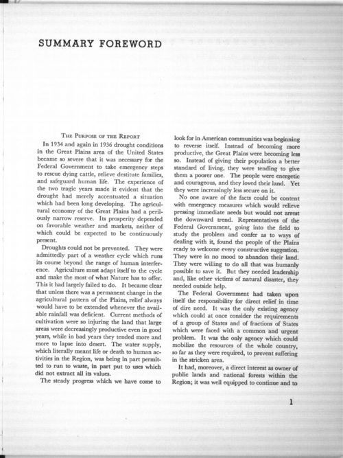 Summary forward, in The future of the Great Plains: Report of the Great Plains Committee - Page