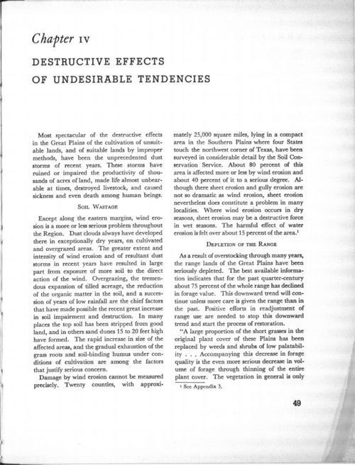 Chapter IV: Destructive effects of undesirable tendencies, in The future of the Great Plains: Report of the Great Plains Committee - Page