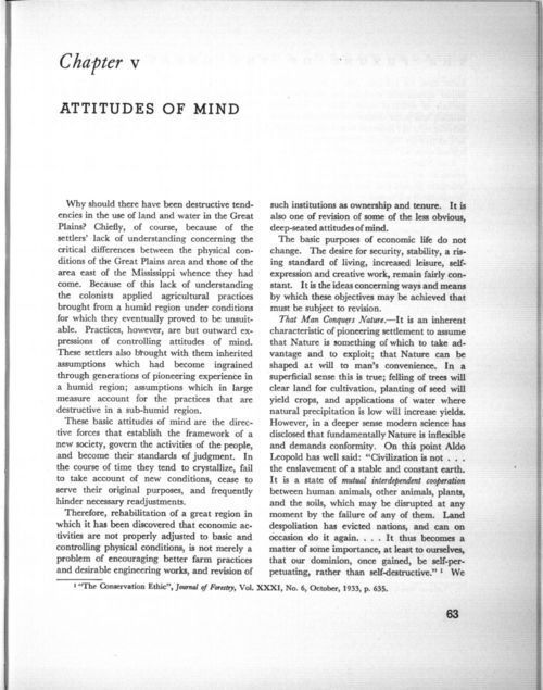 Chapter V: Attitudes of mind, in The future of the Great Plains: Report of the Great Plains Committee - Page