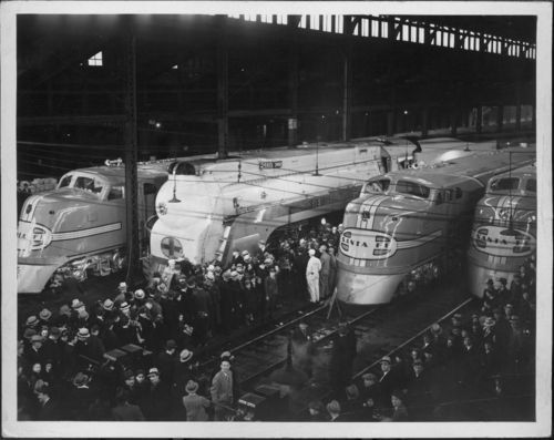 Atchison, Topeka & Santa Fe Railway Company's El Capitan, Super Chief ,streamlined Chief, Dearborn station, Chicago, Illinois - Page