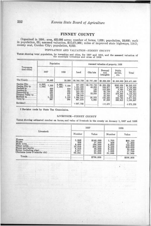 Thirty-first Biennial Report, Statistics by county showing population, acreage, production, and livestock, 1937-1938 - Page