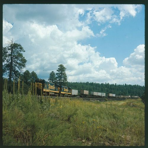 Atchison, Topeka & Santa Fe Railway freight train pulled by engine 8501 - Page