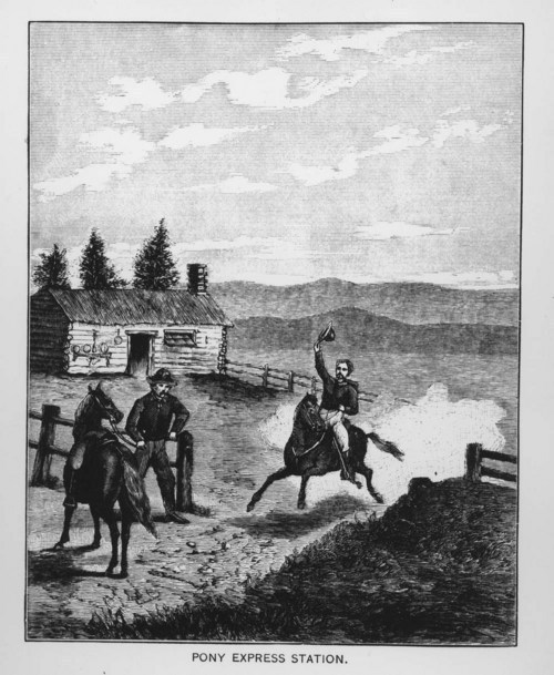 A drawing showing a Pony Express station and riders