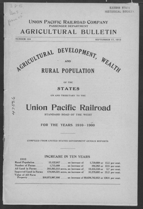 Agricultural development, wealth and rural population of the states on the tributory to the Union Pacific Railroad for the years of 1900-1910 - Page