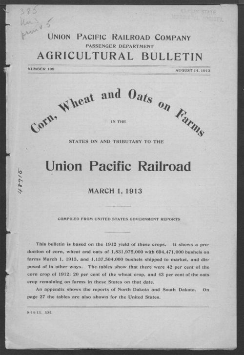 Corn, wheat and oats on farms in the states on the tributory to the Union Pacific Railroad, March 1, 1913 - Page