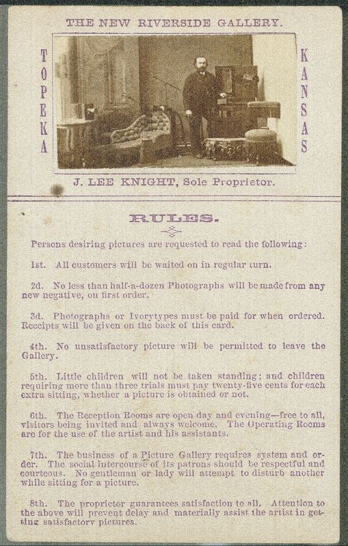 The New Riverside Gallery,Topeka, Kansas, price list and rules - Page