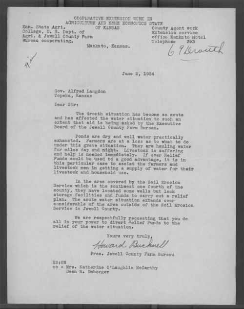 Howard Bucknell to Governor Alfred Landon - Page