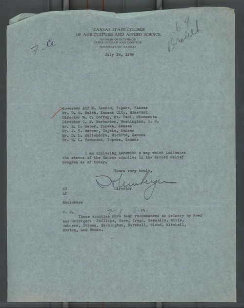 Harry Umberger to Governor Alf Landon - Page