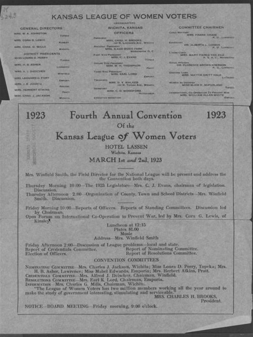 Annual Convention of the Kansas League of Women Voters - Page