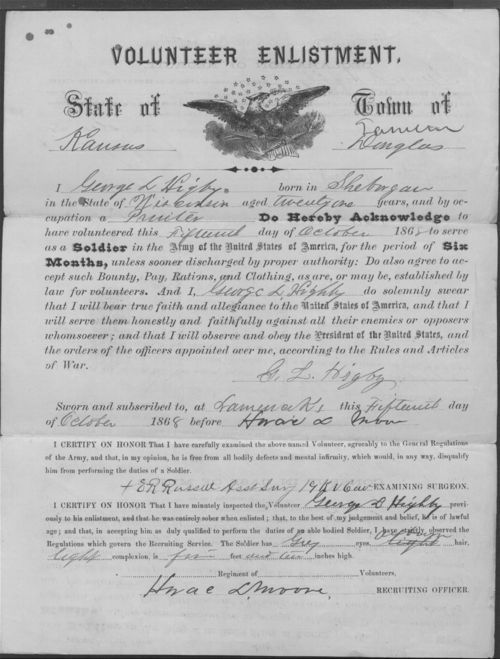 George L. Higby, Volunteer Enlistment in the 19th Kansas Cavalry - Page