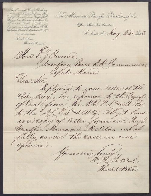 H. M. Hoxie to E. J. Twiner - Page