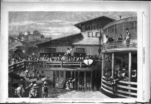The Negro exodus. Scenes on the wharves at Vicksburg - Page
