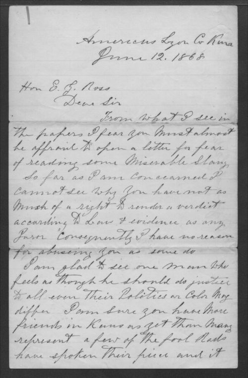 T.C. Hill to Senator Edmund G. Ross - Page