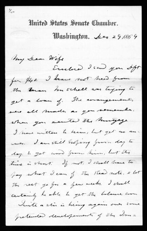 Senator Edmund G. Ross to Fanny L. Ross - Page