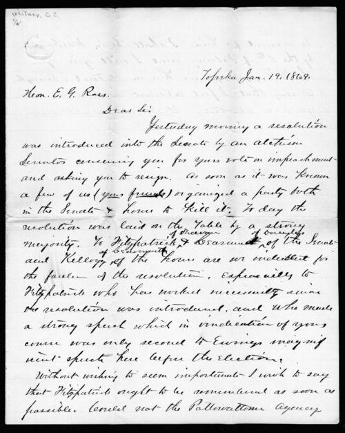 C.C. Whitney to Senator Edmund G. Ross - Page