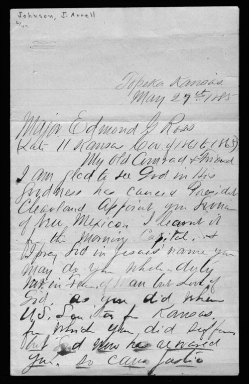 John Arrell Johnson to Edmund G. Ross - Page