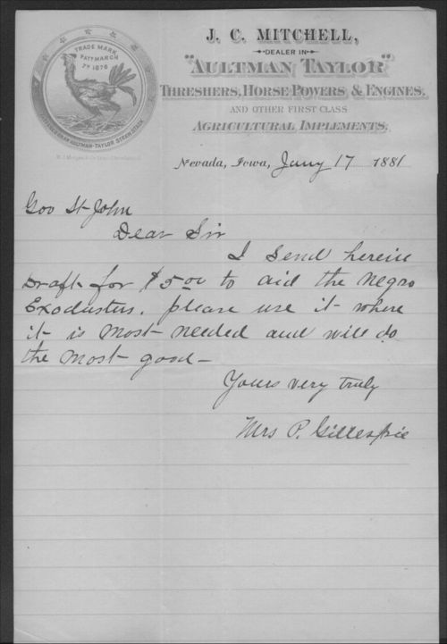 Mrs. P. Gillespie to John P. St. John - Page