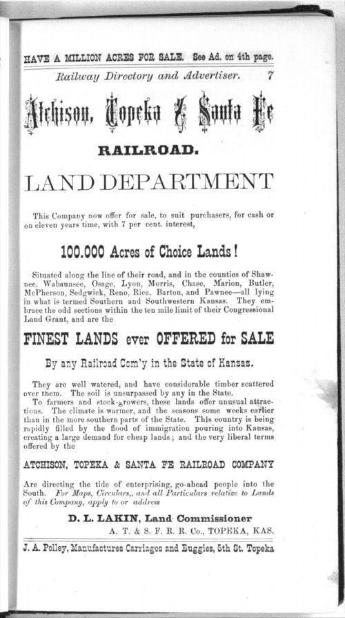 Atchison, Topeka and Santa Fe Railroad. Land department - Page