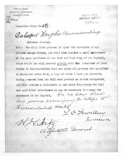 Governor Lorenzo Lewelling executive order no. 3 - Page