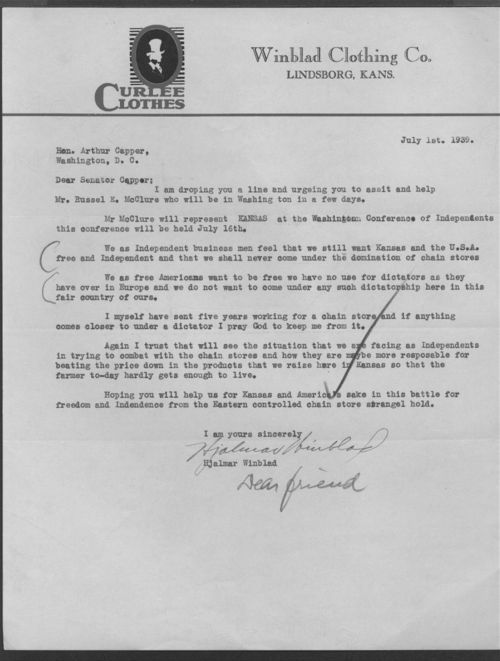 Hjalmar Winblad to Senator Arthur Capper - Page