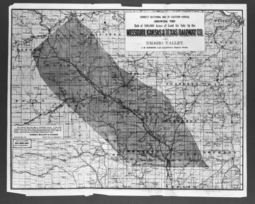 Correct sectional map of eastern Kansas showing the belt of 5,000 acres of land for sale by the Missouri, Kansas & Texas Railway Co. in the Neosho Valley - Page