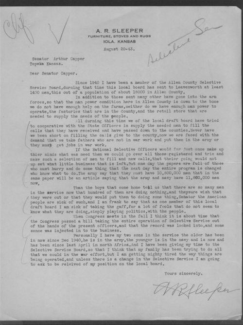 A.R. Sleeper to Senator Arthur Capper - Page