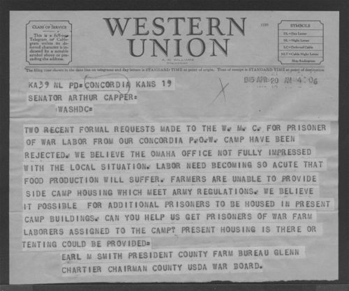 Image of telegram requesting more POW workers be available, 1945