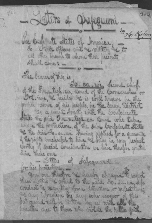 Letters of Safeguard for To-sa-wi from the Confederate States of America - Page